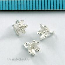 4x STERLING SILVER FLOWER BEAD CAP PENDANT CLASP PEARL BAIL PIN CONNECTOR #2881