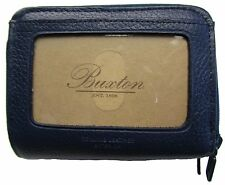 New Buxton Womens Mini Leather Credit Card ID Wizard Wallet Purse Navy
