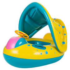 New Baby Float Boat Swim Ring Inflatable Learn Swimming Sunshade F 6-36 months