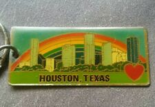 Vintage I Heart Houston Rainbow Enamel Keychain
