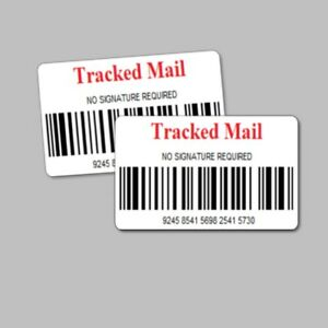 520 Tracked Mail Stickers / Labels - Barcode Postal Tracking Delivery