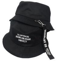 New Flat Fishman Sun Embroider Letter Vintage Bucket Hat Men Women Hip Hop Cap U