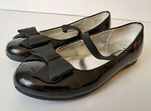 Nina Girl's Size 11.5 Shiny Solid Black Dress Shoes Mary Janes Flats EUC