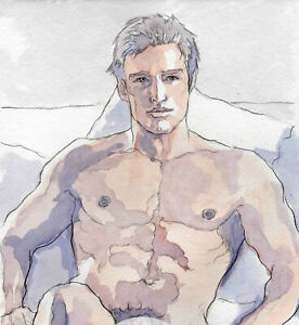 ORIGINAL LARGE MALE NUDE Watercolor - PAOLO - by GERMANIA
