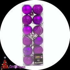 Christmas Decorations - 12 Pack Purple Glitter & Plain Baubles - 30mm