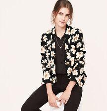 NWT Ann Taylor Loft Black Ivory Femme Floral Vintage Crepe Jacket Blazer $98 M