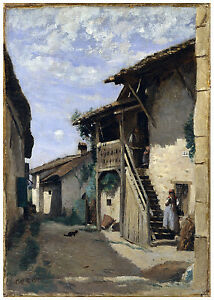 "Realism Naturalism ""A Village Street Dardagny"" Camille Corot ca. 1857"