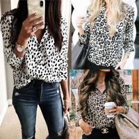 UK STOCK Women V Neck Ladies Leopard Print Long Sleeve Button T Shirt Top Blouse