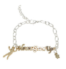 PETER PAN NEVER GROW UP SCRIPT CHARM BRACELET DISNEY OFFICIAL MERCHANDISE