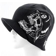 Men's Black Knit Visor Brim Beanie Hats Skullies Skiing Caps Embroidery Skull
