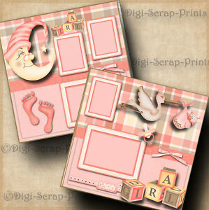 BABY GIRL ~ 2 pre-made scrapbooking pages layout paper piecing digiscrap #A0052
