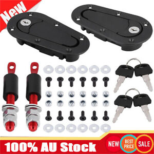 Flush Mount Bonnet Pins Locking Generation Car Flush Hood  Pin Kit W/2 Keys