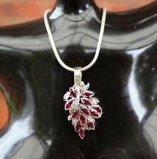 Vintage Natural Ruby & Diamond White Gold Pendant Necklace VTG