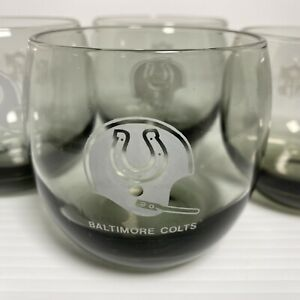 Vintage Set of 4 1970's NFL Baltimore Colts Etched Smokey Gray Rocks Glass