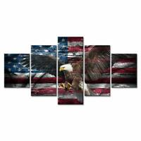 Bald Eagle and American Flag 5 PCs Canvas Printed Wall Poster Picture Home Decor