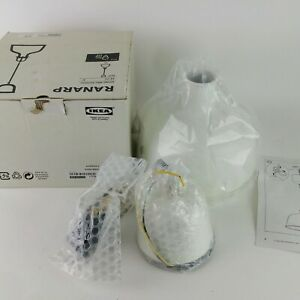 "Ikea Ranarp White Pendant Metal Hanging Lamp 9"" 23cm 002.313.12 Open Box"