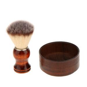 Portable Male Wooden Mug Shaving Bowl Cream Soap Cup with Shaving Brush Set