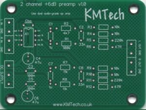 KMTech 2-Channel Opamp based General Purpose Audio Preamp PCB DIY