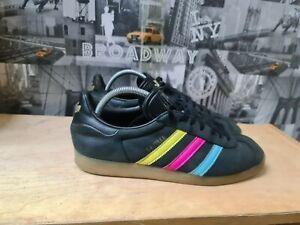 adidas Originals Gazelle Black/Cyan /Shock Pink Mens Leather Trainers Size UK 10