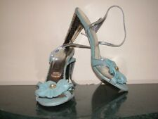Bridal blue Leather slingback crystal heels shoes, size 7 , bow & pearl front