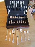 MINT* WALLACE ROSE POINT STERLING SILVER FLATWARE SET-S-8+SERVERS+CHEST*EXCL*55P