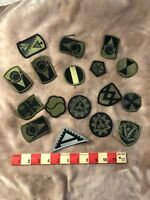 Army Patch Lot Of 17 Subdued Patches (Some Duplicates) 82M2