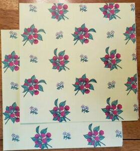 Vintage 80s Raspberry & Flower Blossom Print Yellow Wrapping Paper Loose