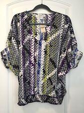 NEW Coldwater Creek Women's Azteca Top Size Small 8 Black Purple White Blue