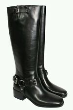Michael Kors Harrison Riding Boots Leather Black Buckle Harness Size 5.5   $395