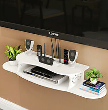 Modern White Floating Wall Mount Shelf Sky Box DVD HIFI Unit Shelves Display UK
