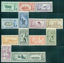 FALKLAND ISLANDS 107-20 SG172-85 MH 1952 KGVI Defin set of 14 Cat$210