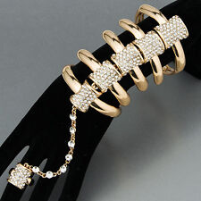 Gold Skeleton Bone Urban Rhinestones Ring Extension Statement Bracelet