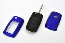 VW Remote Flip Key Cover Case Skin Shell Cap Fob Protection Metallic Blue 10-
