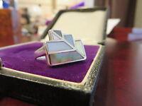 Atemberaubender 925 Silber Ring Perlmutt Space Age 70er Vintage Geometrie Retro