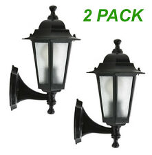 2 x Large Outdoor Coach Lights - Black - Wall Mount EX706B