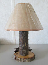 Natual Wood Office Den Study Table Lamp Country Woods Printed Shade Made in USA