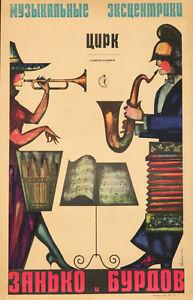 Originale Vintage Poster Russo Soviet Circo 1965 Zanko Loro Musica Tromba Sax