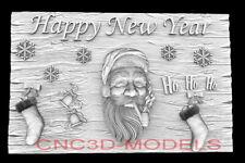 3d Model Stl For Cnc Router Artcam Aspire Happy New Year Santa Claus D761