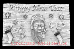 3D Model STL for CNC Router Artcam Aspire Happy New Year Santa Claus D761