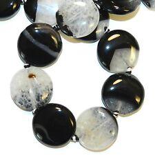 "NG2833L2 Black Agate & Crystal Quartz 24mm Flat Round Gemstone Beads 15"""