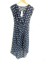 BNWT Warehouse Size 10 Navy High Low Spotted Dress Sheer Lined Wedding Guest