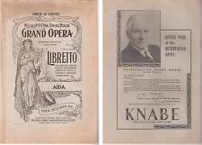 Libretto bilingue opera AIDA di G. Verdi al Metropolitan Opera House - New York