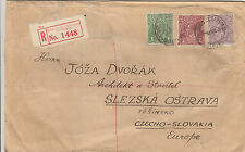 Stamps Australia KGV on 1926 registered cover to Czechoslovakia wax seals back