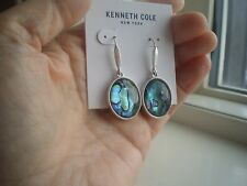 KENNETH COLE DESIGNER DANGLING SILVER TONE  EARRINGS with PAUA SHELLS