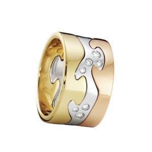 Georg Jensen. Fusion 3-piece Ring - 18k. Yellow, Rose & White Gold with Diamonds