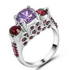 Purple Amethyst Stone Wedding Ring 18KT White Gold Filled CZ Band Size 8