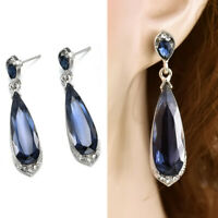 925 Silver Fashion Crystal Blue Long Waterdrop Drop Dangle Earring Women Jewelry