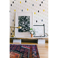 Simple drop polka dot grey and yellow shape removable wallpaper Easy stick