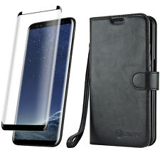 Galaxy S9 Plus Black Leather Wallet Case Cover + Tempered Glass Screen Protector