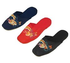 Handmade Embroidered Dragon Chinese Women's Cotton Slippers Blue Red New